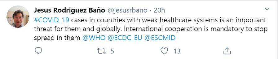 Tweet del epimediólogo Jesús Rodríguez Baño sobre el #covid_19