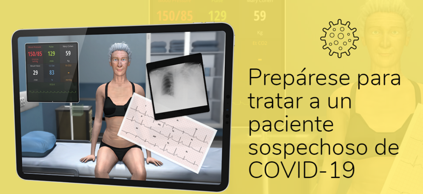 Simulación virtual de un escenario clínico con paciente sospechoso de COVID-19